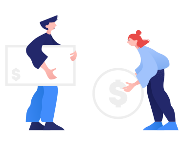 Man and woman holding money