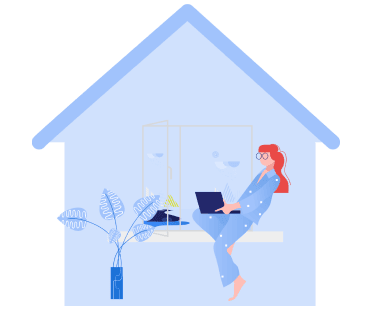 Woman on a laptop inside a home