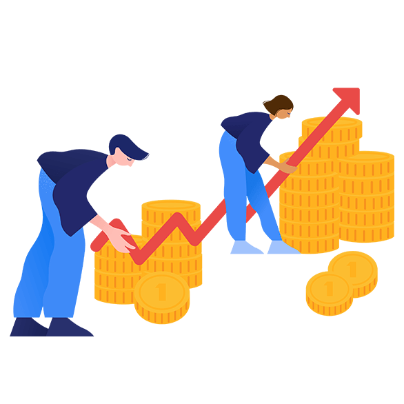 illustration of people with coins stacking
