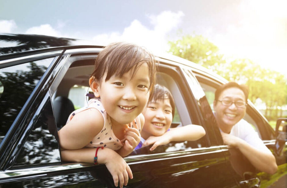 Family Riding in Vehicle