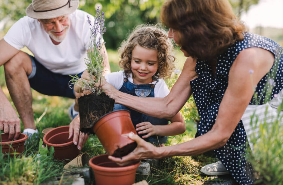 Family gardening with child