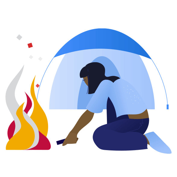 illustration of person camping