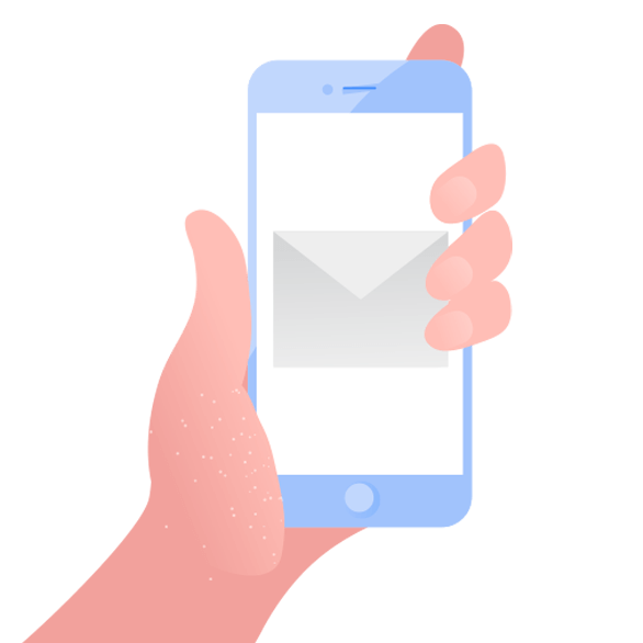 illustration of phone with email