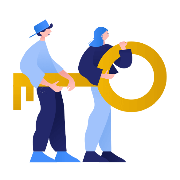 Illustration of people holding a key