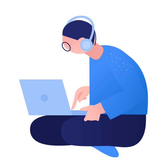 Illustration of person using laptop