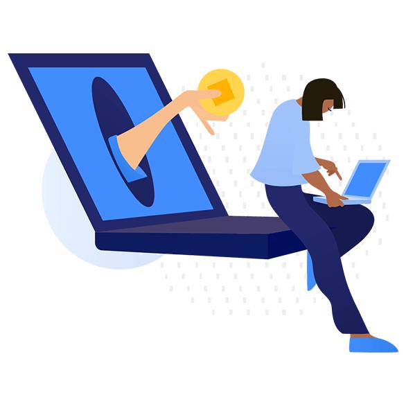 illustration of woman using laptop
