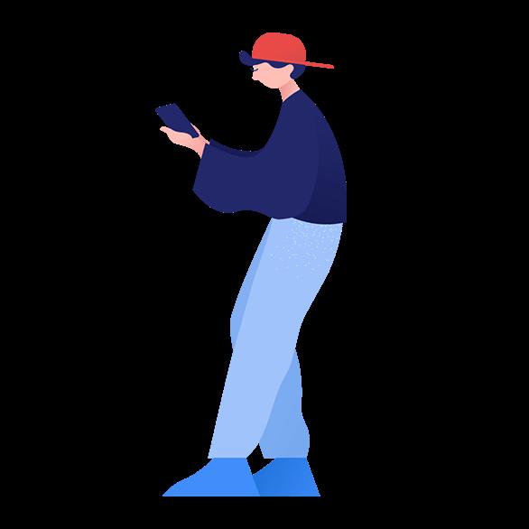 illustration of man holding phone