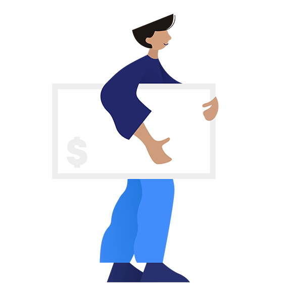 illustration of person with dollar