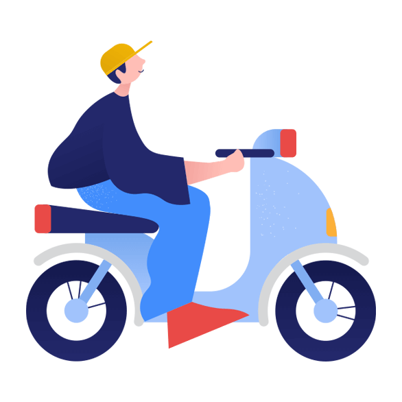 illustration of person on motorcycle