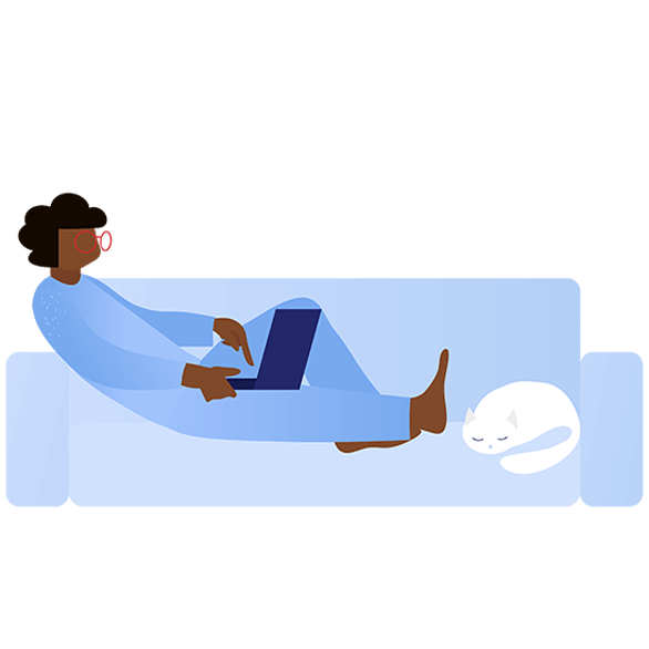 illustration of woman on couch with laptop