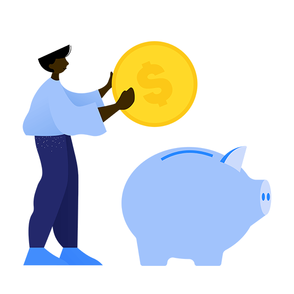 Illustration of man with piggybank