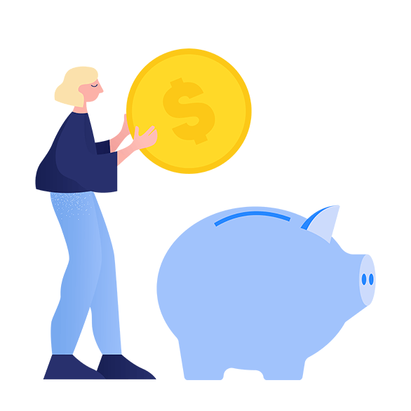 Illustration of person with piggybank