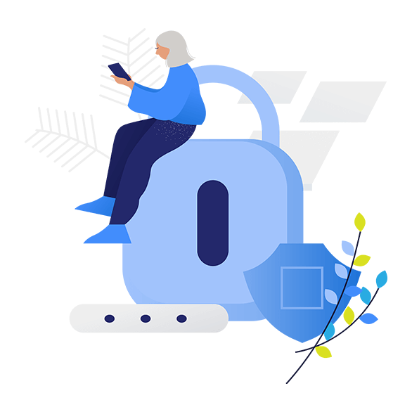 Illustration of woman with lock