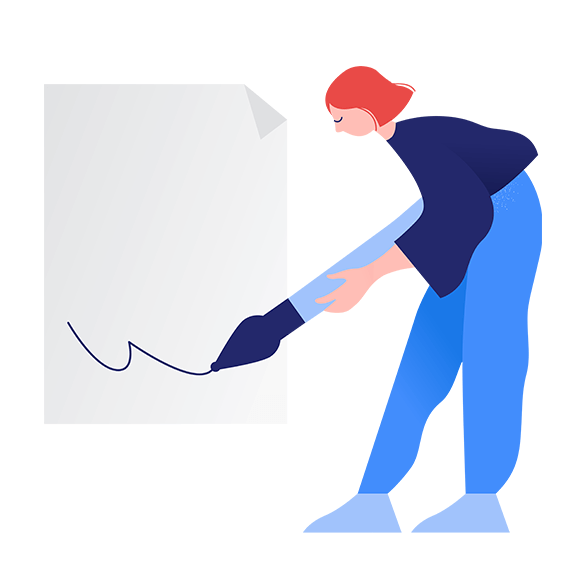 Illustration of woman signing paper
