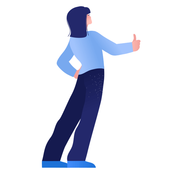 Illustration of woman holding thumb up
