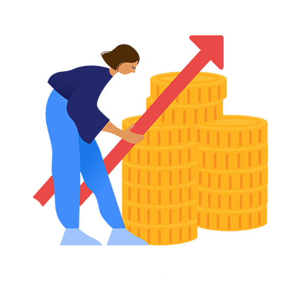 illustration of woman with coins increasing